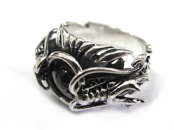 Перстень из серебра Два Дракона B2R23-08
