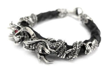 Серебряные браслеты с кожей мужские
